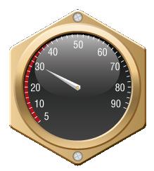 Meter gauge, reading at 30