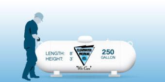 Man with 250 gallon tank. Length= 8 feet, height= 3 feet